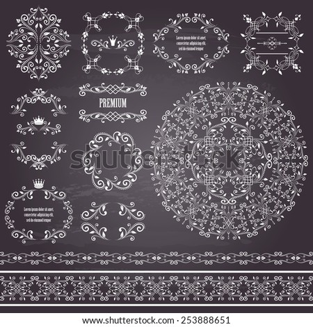 Floral design elements set, vintage frame, borders and round pattern. Page decoration. Vector illustrations. Isolated on chalkboard background. Can use for birthday card, wedding invitations - stock vector