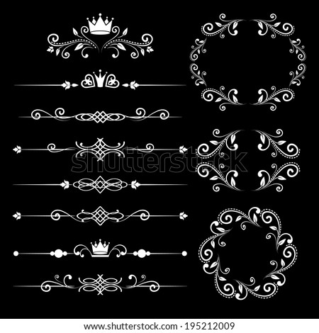 Floral design elements vintage dividers and frames with crowns in white color. Page decoration. Vector illustration. Isolated on black background. Can use for birthday card, wedding invitations.  - stock vector