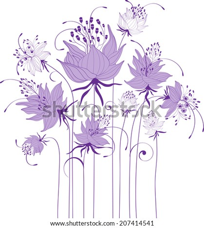 Floral design, stylized flowers - stock vector