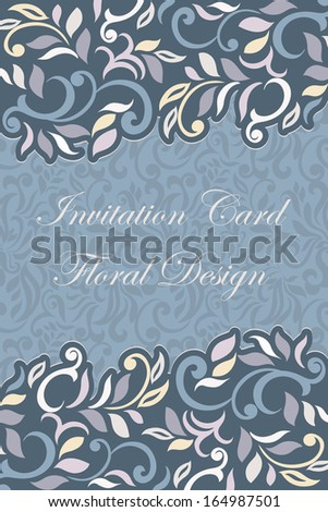 Floral designed, abstract elegant style Invitation Card, winter- colored  - stock vector
