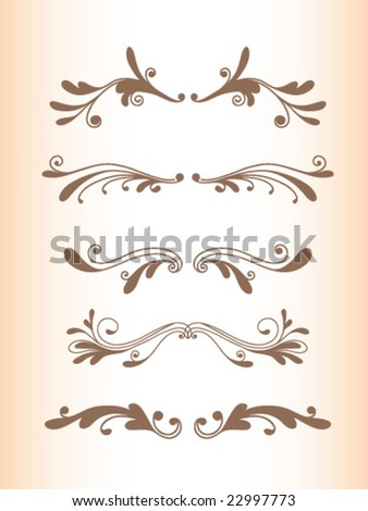 Floral dividers set 3 - stock vector