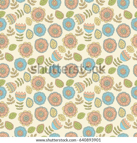 Floral doodle background, seamless pattern.