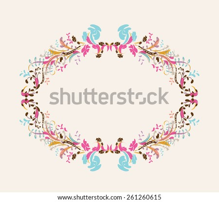 Floral doodle frame with space - stock vector
