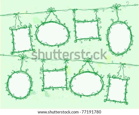 Floral doodle frames - stock vector