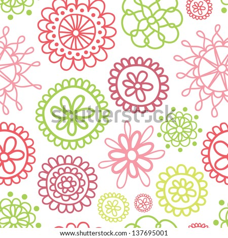 floral doodle seamless vector pattern for backgrounds wedding textile interior and decoration summer sweet - stock vector