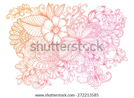Floral doodles. Beautiful bouquet of flowers. - stock vector