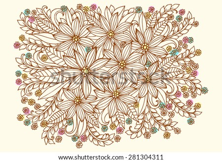 Floral doodles. Beautiful bouquet of wild flowers. - stock vector