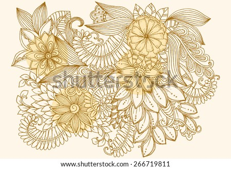 Floral doodles. Drawing flowers. Beautiful backdrop for invitation and party card. Floral design elements for your creative ideas - stock vector