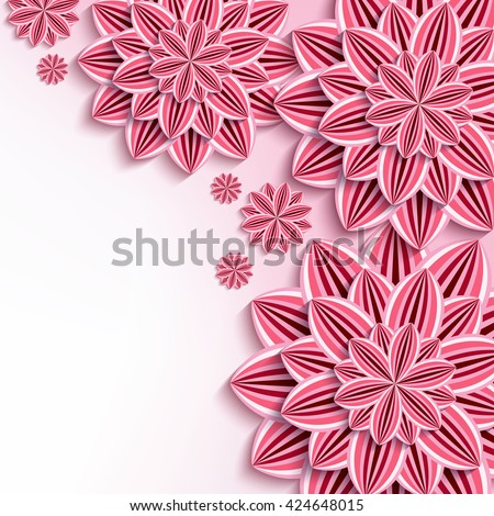 Floral elegant background with pink 3d flowers dahlia cutting paper. Beautiful stylish background. Trendy greeting or invitation card for wedding, birthday. Vector illustration - stock vector