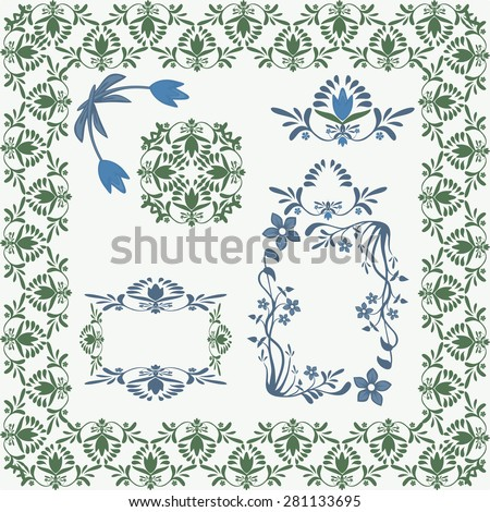 Floral elements pattern vector Nature inspired Floral ornament set Elegant flower designs in vintage style Swirly plants vignette, borders, corners Great 4 greeting cards, invitations, banners, labels - stock vector