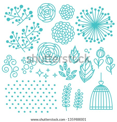 Floral elements set with flowers, leaves, dots and cage - stock vector