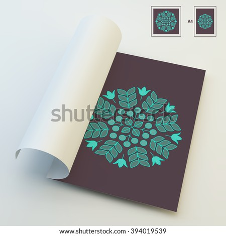 Floral Elements. Textbook, Booklet or Notebook Mockup. Orient Traditional Design. Lace Pattern. Vector Fashion Illustration.