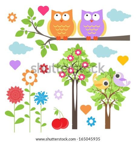 floral elements with cute owls - stock vector