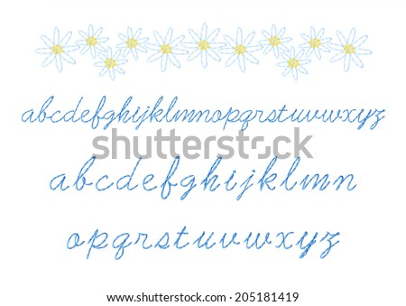 Floral embroidery and alphabet lowercase cursive embroidery - stock vector