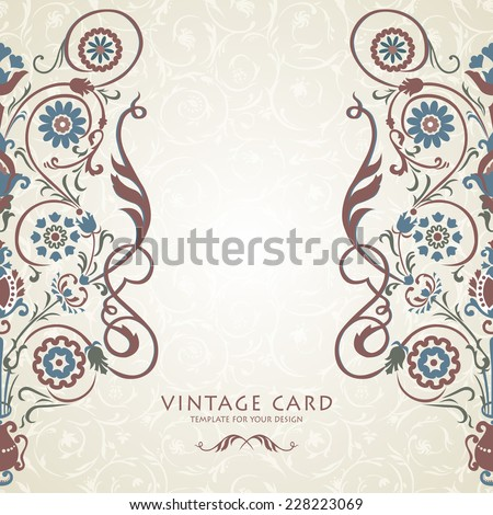 Floral ethnic ornament on seamless background. - stock vector