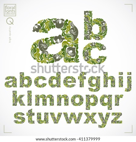 Floral font, hand-drawn vector lowercase alphabet letters decorated with botanical pattern. Green ornamental typescript, vintage design lettering. - stock vector