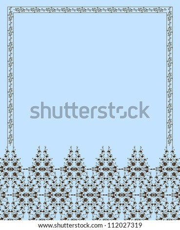 Floral frame and pattern. Vector - stock vector