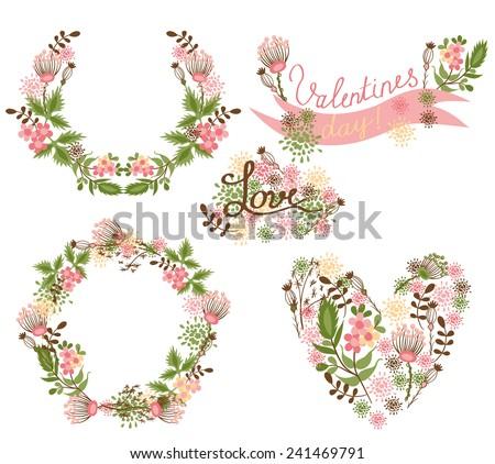 Floral Frame Collection. Floral elegance frames and holiday symbols - stock vector