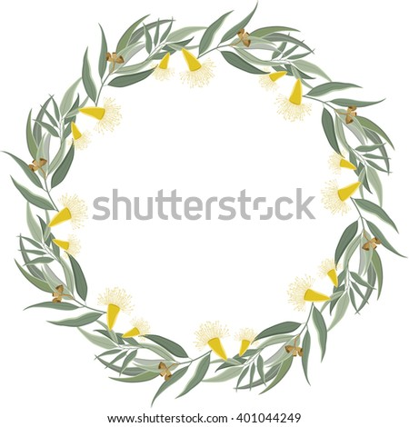 Floral Frame. Cute retro flowers and leaves arranged in a wreath. Great for wedding invitations and birthday cards. Isolated on white background, copy space