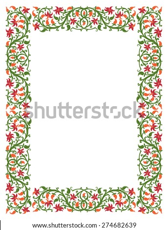 Floral frame in medieval style. Ornament of interwoven stems, foliage and flowers. Vector edging, design element and page decoration - stock vector