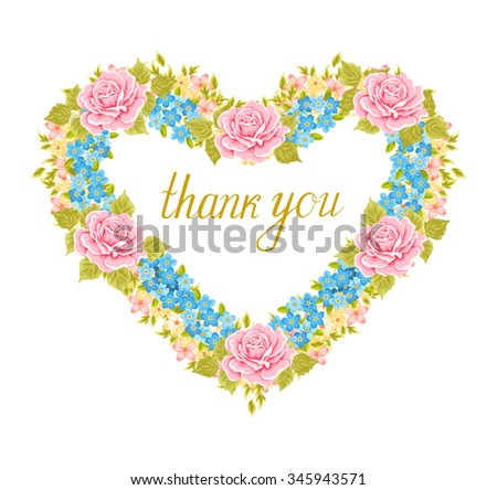 Floral frame in the shape of heart. Design element. - stock vector