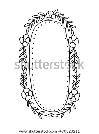 floral frame isolated on white background engraved vector element vintage frame for save the