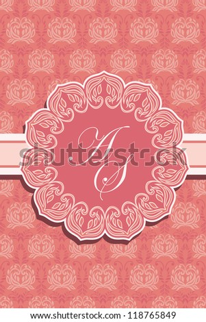 Floral frame on seamless floral pink wallpaper, Elegant invitation card - stock vector