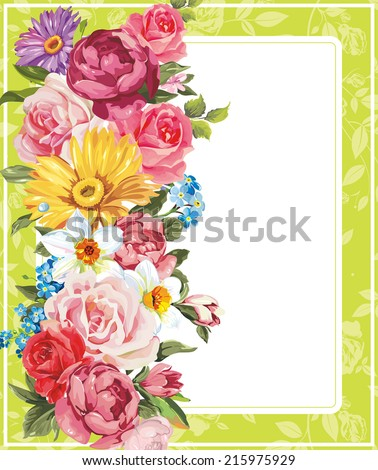 Floral frame perfect for wedding invitations. Background with place for your text - stock vector