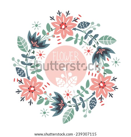 Floral Frame. Vector wreath with cute retro flowers in hand drawn style - stock vector