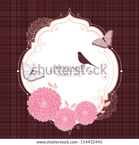 Floral frame with butterflies, bird and flower dahlia. Element for design. Vector illustration. - stock vector