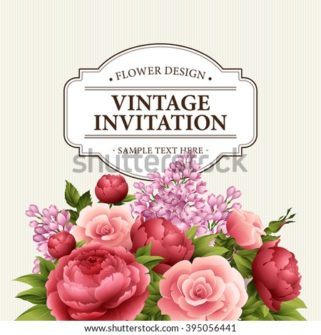 Floral frame with  flowers. Floral bouquet with peony, rose and lilac. Vintage Greeting Card with flowers. Watercolor flourish border. Floral background. Vector illustration EPS10 - stock vector