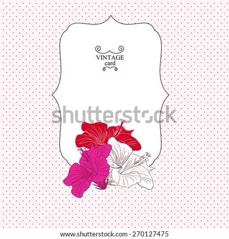 Floral frame with flowers rose hibiscus vintage card. Design element . Vector illustration . eps 10 - stock vector