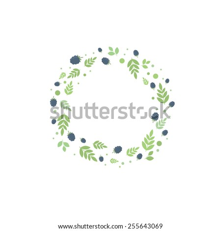 Floral frame with leaves and blackberries. Vector template for design