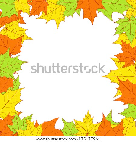 floral frame with leaves of maple, vector illustration