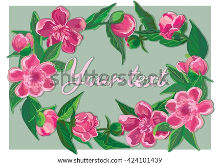 Floral frame with pink peony and lettering