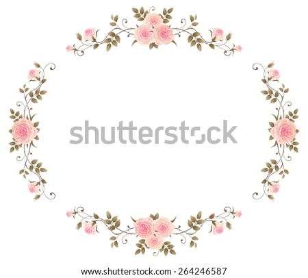 Floral Frame Pink Roses Isolated On Stock Vector 264246587 ...