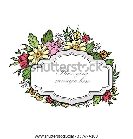 Floral frame with summer flowers. Floral bouquet with rose,  carnation and wildflower. Vintage Greeting Card with flowers. Ornamental decorative flourish border. Floral background. - stock vector