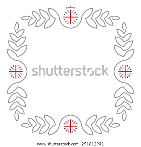 Floral frame with United Kingdom flags and copy space for text in trendy mono line style. Vector frame made of monogram design elements. - stock vector
