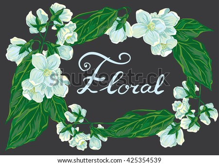 Floral frame with white jasmine and lettering