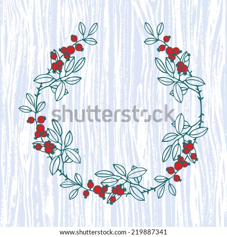 Floral frame with wood background - stock vector