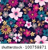 floral garden seamless pattern - stock vector