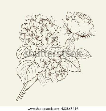 floral garland of hydrangea