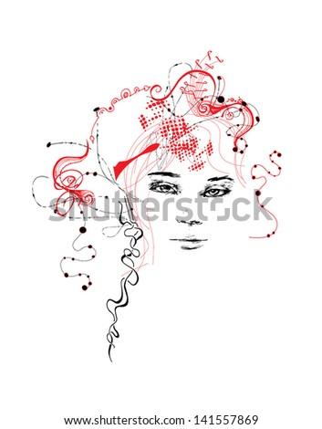 Floral Girl Illustration - stock vector