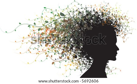 Floral girl silhouette - colored - stock vector