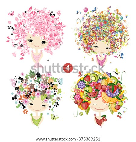 Floral girls. Seasons concept for your design - stock vector