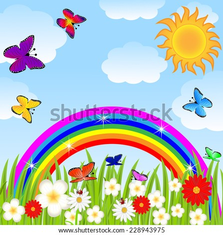 floral glade, butterflies and bright rainbow,  vector  illustration
