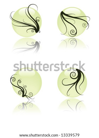 Floral glossy globes - stock vector