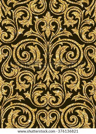 Floral Golden Wallpaper Stock Vector 376136821