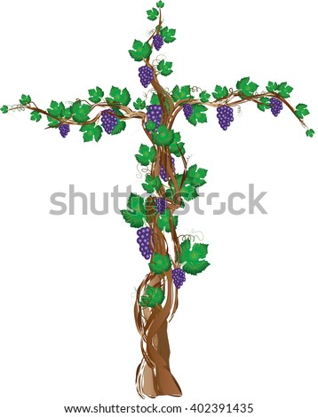 Floral grapevine cross, grape clusters on a vine tree in a shape of a cross. Christian religious graphic element with copy space for text. - stock vector
