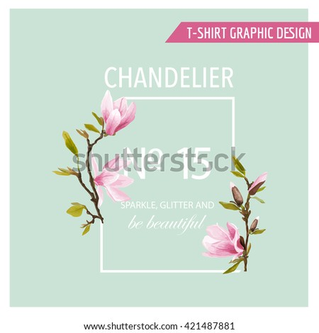Floral Graphic Design. Magnolia Background. Fashion Print. T-shirt Design. Vector Design. Summer Design Element. Spring Floral Blooms.  - stock vector